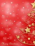 Julkort med det guld- snöflingaträdet royaltyfri illustrationer