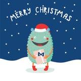 Julkort med det gulliga roliga monstret vektor illustrationer