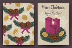 Julkort med det hand drog granträdet, grankottar, stearinljus Royaltyfri Foto