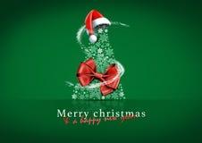 Julkort med det röda band- och julhuvudet stock illustrationer
