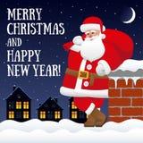 Julkort med det Santa Claus anseendet på taket Royaltyfri Bild
