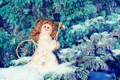 Julkort med en ängel Royaltyfria Bilder