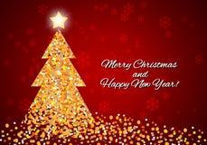 Julkort med en abstrakt julgran från konfettier Royaltyfri Foto