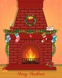 Julkort med en dekorerad spis Arkivbilder