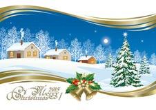 Julkort med en festlig julgran Arkivfoton