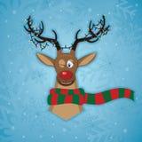 Julkort med en hjort Stock Illustrationer