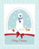Julkort med en isbjörn, som dekorerar härliga pilbågar för mandariner ferier Arkivbilder