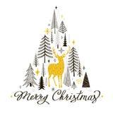 Julkort med en kontur av en guld- hjort Royaltyfria Bilder