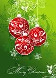 Julkort med en prydnad, vektor Arkivbilder