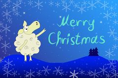 Julkort med ett får stock illustrationer
