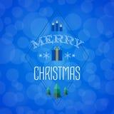 Julkort med feriesymboler glad jul Arkivbilder
