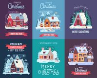 Julkort med Forest Winter House vid natt Royaltyfria Bilder