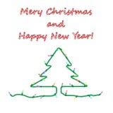 Julkort med girlanden på vit bakgrund Royaltyfria Bilder