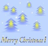 Julkort med glödande träd Arkivfoto