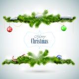 Julkort med granfilialer och bollar Royaltyfri Foto
