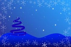Julkort med granträdet royaltyfri illustrationer
