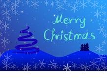 Julkort med granträdet stock illustrationer