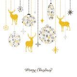 Julkort med guld- deers och bollar av snöflingor Royaltyfri Foto