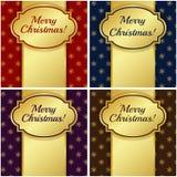 Julkort med guld- etiketter. Vektorillustration. Arkivfoto