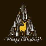 Julkort med guld- hjortar, granträd och snöflingor Royaltyfri Foto