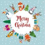 Julkort med gulliga klädda djur och önska stock illustrationer