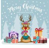 Julkort med gulliga ren- och gåvaaskar royaltyfri illustrationer