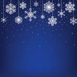Julkort med hängande snowflakes stock illustrationer