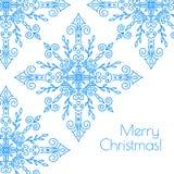 Julkort med hand drog snöflingor Royaltyfria Bilder