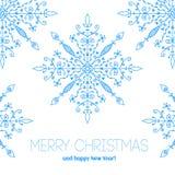 Julkort med hand drog snöflingor Royaltyfri Bild