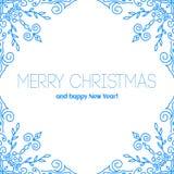 Julkort med hand drog snöflingor Royaltyfria Foton