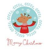 Julkort med hjortar Fotografering för Bildbyråer