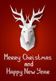 Julkort med hjortar Arkivfoton