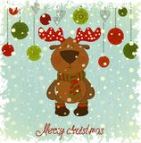Julkort med hjortar på blå bakgrund Fotografering för Bildbyråer