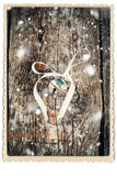 Julkort med Jingle Bell Wooden Photo Fotografering för Bildbyråer