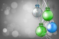 Julkort med julbollar och ställe för text Royaltyfria Bilder
