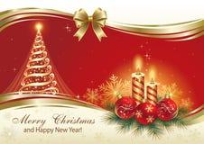 Julkort med julgranen och stearinljus Arkivfoton