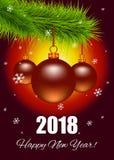 Julkort med julgranfilialen och julbollar och `en för lyckligt nytt år för ord`, också vektor för coreldrawillustration Arkivbild
