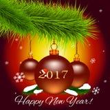Julkort med julgranfilialen och julbollar och `en för lyckligt nytt år för ord`, också vektor för coreldrawillustration Arkivfoto