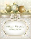 Julkort med julleksaker royaltyfri illustrationer