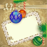 Julkort med julpynt Royaltyfri Fotografi