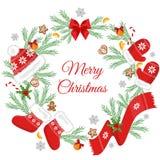 Julkort med julpynt Arkivbilder