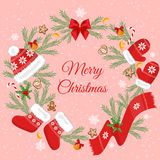 Julkort med julpynt Royaltyfria Bilder
