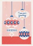 Julkort med julstruntsaker royaltyfri illustrationer