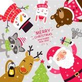 Julkort med jultomten och djur gulliga tecken vektor illustrationer