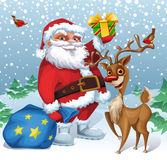 Julkort med jultomten och renen Arkivbilder