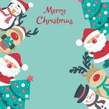 Julkort med jultomten, träd snögubbe, hjortar och pingvin , stock illustrationer