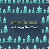 Julkort med julträd Royaltyfri Bild