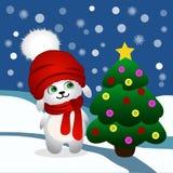 Julkort med kanin och trädet Royaltyfria Foton