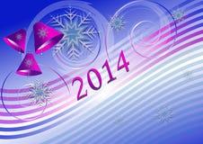 Julkort med klockor på bakgrund för purpurfärgade blått Royaltyfri Bild
