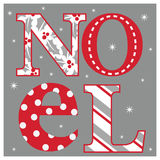 Julkort med Noel typografi Fotografering för Bildbyråer
